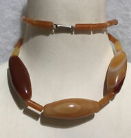 1920s Carnelian Agate Necklace Cigar Clasp Antique Tube Beads Jewellery Jewelry