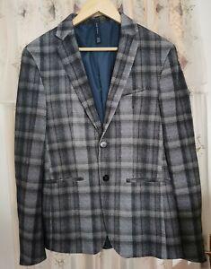 Zara Blazer Jacket Blue Grey Check Size 36 mens