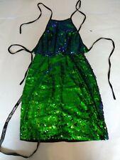Prettylittlething Jeseme Green Sequin Front Bodycon Dress size 4