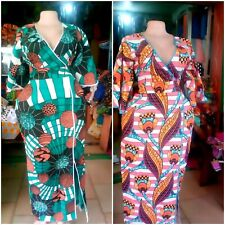 AFRICAN PRINT WRAP DRESS , FLOOR LENGTH DRESSES, ANKARA WAX, SIZES 14 TO 18