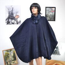 Poncho Femme Grande Taille Cape Col Fourrure 40 42 44 46 48 50 52 54 bleu BIG