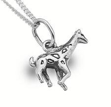 """Sterling Silver 925 Giraffe Pendant & 18"""" Chain Necklace Pure Origins Sea Gems"""