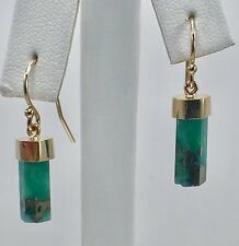 Colombian Emerald (6.72ct) Faceted Point Dangle Earrings 14K Gold, New, #2