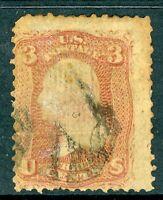 USA 1867 Washington 3¢ E Grill  Scott # 88 VFU B711 ⭐⭐⭐⭐⭐⭐