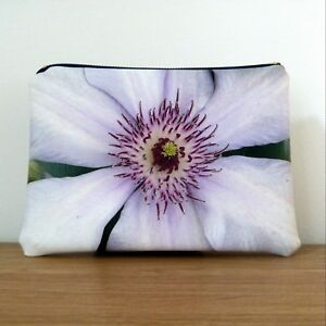 Make up Bag Cosmetic Ladies Clutch Floral Faux Leather Flat Handmade Travel