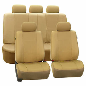 Beige Deluxe Perforated Leatherette Car Seat Covers Full 2 Row Split Bench