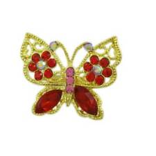 Small Red Crystal Butterfly with Red Crystal Flowers Brooch Pin - PRI681S
