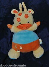 Peluche Doudou Girafe BABY SMILE Jaune Orange Bleue Empreintes Hochet Etat NEUF