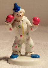 "5"" Vintage Ceramic Clown Boxing Figurine"
