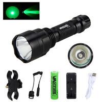Green Flashlight 5000LM XML Q5 LED Hunting Laser Coyote Hog Lamp Scope Gun Mount
