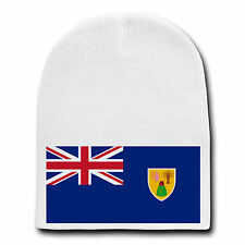 Turks & Caicos Islands World Country National Flag White Beanie Cap Hat Winter