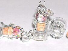 1 miniature dollhouse charm pendant tiny unicorn fairy dust rose cork Bottle NEW
