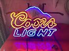 """Neon Sign Coors Light Rocky Mountains 16""""x12"""" Turns Off After 10sec On"""