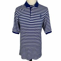 TPC Sawgrass Tommy Hilfiger Golf Polo Shirt Large Blue White Striped Cotton