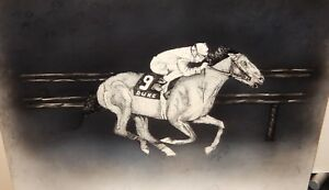 "COLLEEN SKELLY ""DUKE #9"" HORSE RACING TRACK ORIGINAL BLACK INK PAINTING"