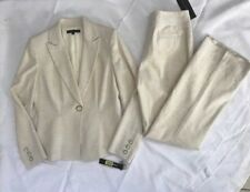 ANTONIO MELANI Size 6 Ivory Women's Pant Suit, Padded Shoulders, Flare Leg NWT