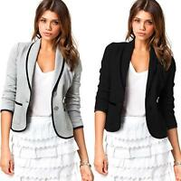 Women Slim Small Suit Lapel Office/Causal Long Sleeve Blazer Jacket Coat Tops