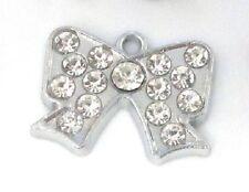 10 Ribbon Bow Silver Plated Crystal Rhinestone Charm/Pendant/Jewel/Beading K142