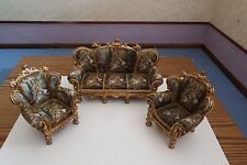 doll house furniture resin victorian  high back sofa /2x armchairs quality 1.12