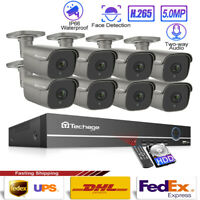 48V 5MP H.265 POE IP Home Shop Alarm Sound Security Onvif CCTV Camera System Lot