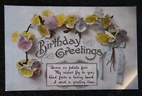 Vintage Coloured Postcard 1919 - BIRTHDAY GREETINGS - Written/unposted - VGC
