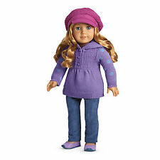 NEW American Girl MY AG CASUAL CHIC OUTFIT+ CHARM for Doll  Beret Purple Shoes
