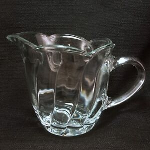"Anchor Hocking Swirl 56 Clear Creamer 3.5"" Scalloped Glass Mid Century"