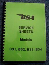 BSA WORKSHOP MANUAL Service Sheets for B31, B32, B33, B34 1945 - 1960 - BW04