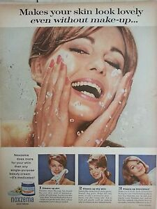 1963 Noxzema Skin Cream Clears Blemishes Woman Washing Face Ad