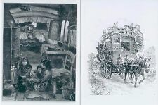 7 small prints Gypsy Romany Traveller vardos wagons horses b&w London Brush etc