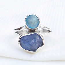 925 Sterling Silver Multi Stone Handmade Ring size 7, Solid Silver Rings-EB7009