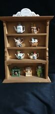 Cardew Tiny Teapot Collection/Wooden Display stand/9 Porcelain Teapots/Novelty/