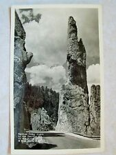 RPPC S.D. NEEDLES HIWAY TRAFFIC COP BLACK HILLS SOUTH DAKOTA REAL PHOTO POSTCARD