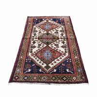 """3'4""""x4'10"""" Ivory Vintage Farsian Amadan Pure Wool Hand Knotted Rug R47136"""