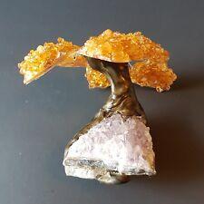 328g Citrine & Amethyst Geode Crystal Cluster Lifetree Twin Spirit Tree Cool!