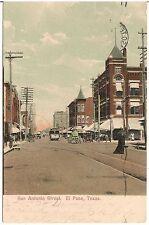 View on San Antonio Street in El Paso TX Postcard 1908