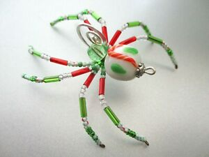 Christmas Spider Holiday Tree Ornament Red & Green Swirl Peppermint Candy Cane