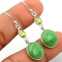 Chrysoprase Australia and Peridot 925 Sterling Silver Earrings Jewelry SDE24183