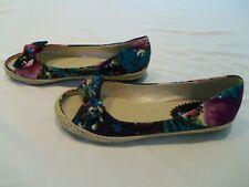 Misbehave Colorful Floral Open Toe Flats Shoes Sandals Slip On Women's Size 8.5