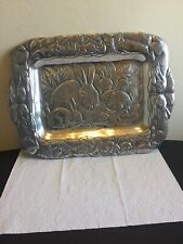 Arthur Court Lg Bunny Rabbit Serving Tray Great Detail Approx 18�