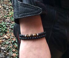 Mens Bracelet set 925 Sterling Silver Tiger Eye & Matte Onyx Gemstone beads