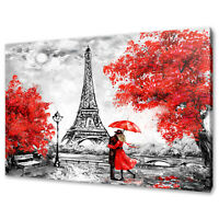 COUPLE UNDER RED UMBRELLA PARIS EIFFEL TOWER CANVAS PRINT WALL ART PICTURE PHOTO