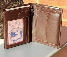 Men's Trifold Soft Leather Wallet Coin Pocket Travel Card Holder Brown Large New