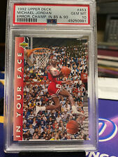1992 Upper Deck Michael Jordan In Your Face ERROR Champ (85 & 90) PSA10 GEM MT !