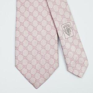 GUCCI TIE GG Guccissima in Pink Skinny Woven Silk Necktie