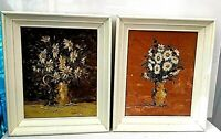 Vintage Oil Paintings Signed Dix  Lot of  2 Daisy Flowers Still Life Rare