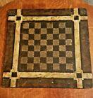 19th C  Faux Painted  Marbleized Folk Art SLATE Checker   Chess Game Board