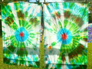 Set of two tie dye standard pillow cases -