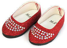 Red Glitter Flats w/Rhinestones Shoes fits 18 inch American Girl Doll Clothes