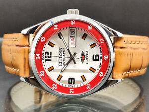 citizen automatic men's steel day/date vintage made japan wrist watch run order